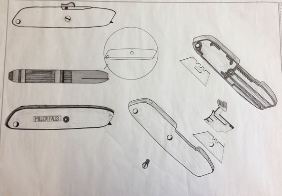 Utility knife drawn in plan, section, elevation, and exploded axon