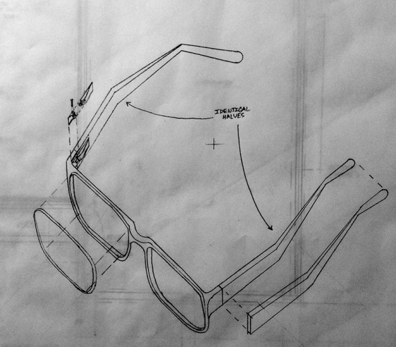 glasses drawn in exploded axon