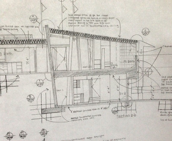 building section drawn in graphite