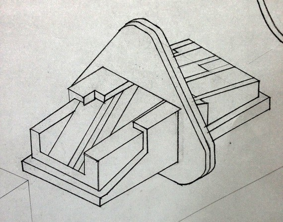 pencil sharpener drawn in exploded isometric axon