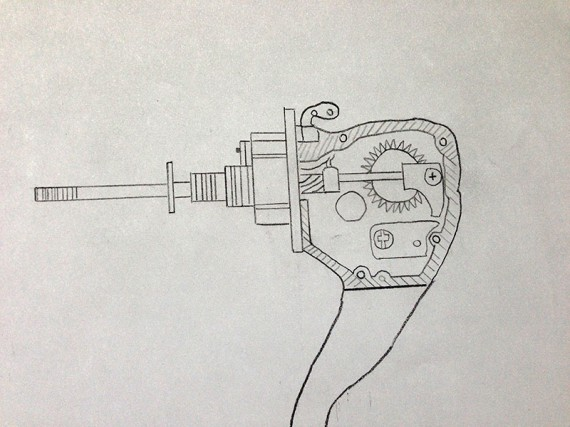 Fishing reel drawn in section