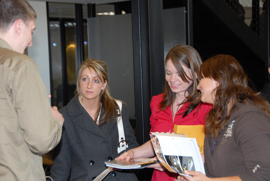 Interior Design students confer with distributor at 2008 Vendor Fair