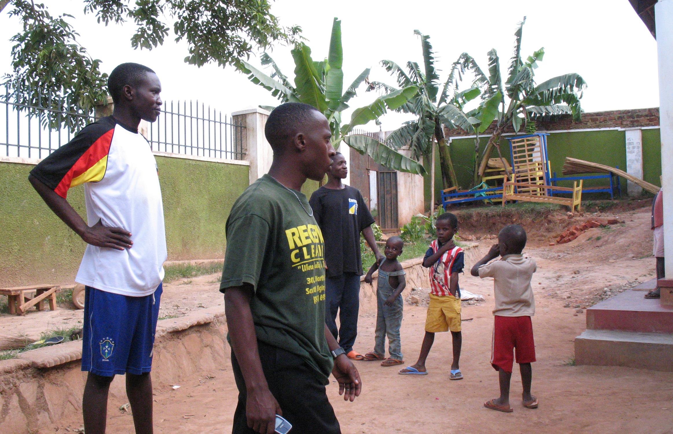 Geofrey Kalanzi (left) at the Home Again orphanage in Kampala, Uganda (courtesy of Alex Fournier)