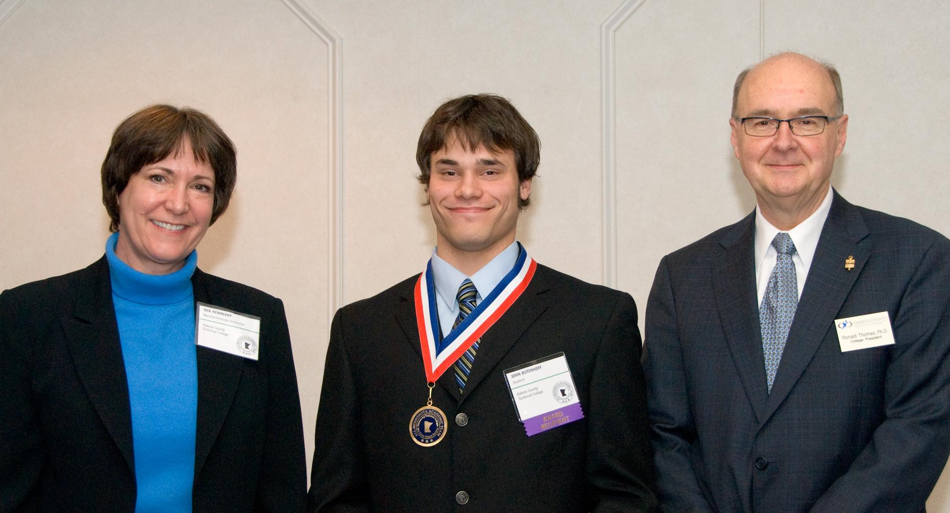 Nanoscience Tech Director Deb Newberry, John Butenhoff, DCTC President Ron Thomas