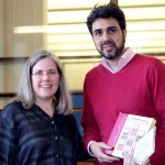 Instructor Gwen Partin with Carlos Merino, winner, Best Applied Visual Arts Portfolio