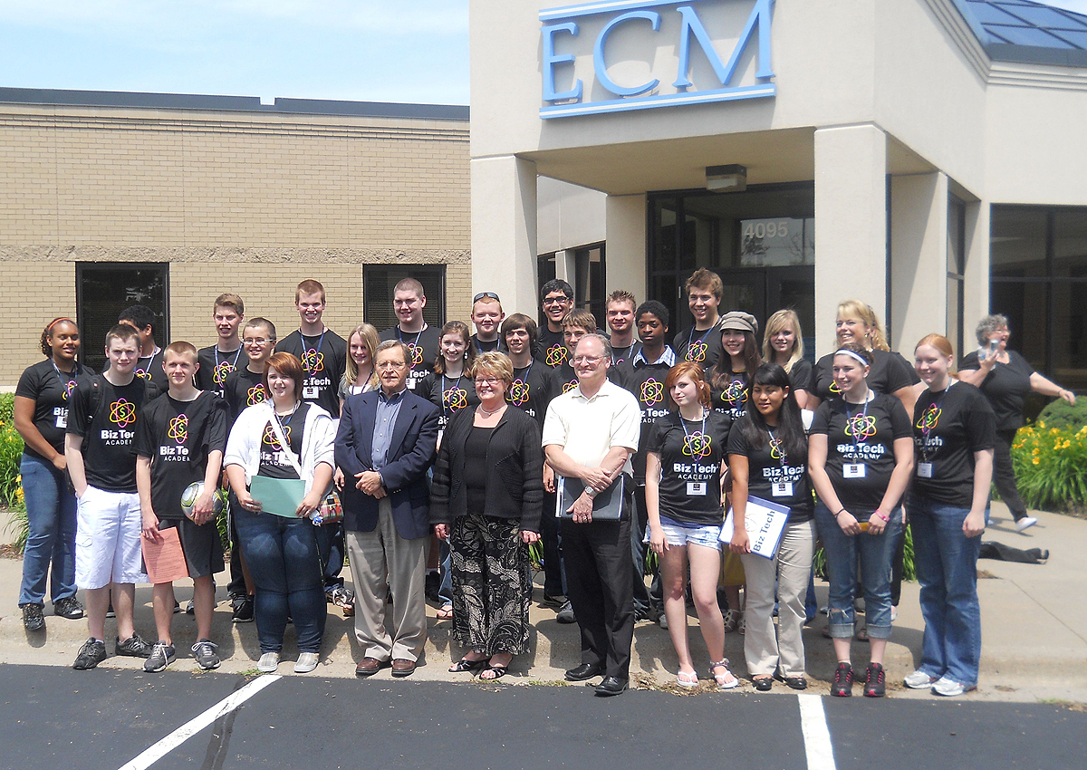 BizTech Academy students outside ECM Publications in Coon Rapids, Minn.