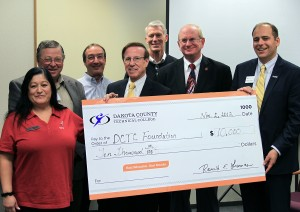 (Left to right in photo: CN Human Resources Associate Esmeralda Salinas, DCTC Foundation Board Director Al Eiden, DCTC Railroad Conductor Technology Instructor Don Spano, DCTC Foundation Board Vice Chair Larry Severson, DCTC Customized Training Transportation Director Larry Raddatz, DCTC Foundation Board Director Bob Erickson, DCTC Foundation Executive Director Tharan Leopold)