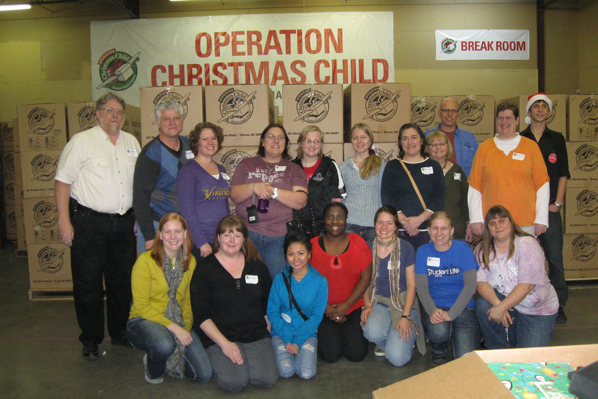 Business Professionals of America and Christians on Campus share holiday joy to children throughout the world by volunteering at Operation Christmas Child.