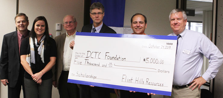 (left to right) Dale Olson, Foundation Treasurer; Ann Byre, Foundation Secretary; Bob Erickson, Foundation Chair; Tim Wynes, J.D., DCTC Interim President; Tharan Leopold, Executive Director of Foundation & Alumni; Lowell Stolte, DCTC Foundation Director and FHR Environmental Director