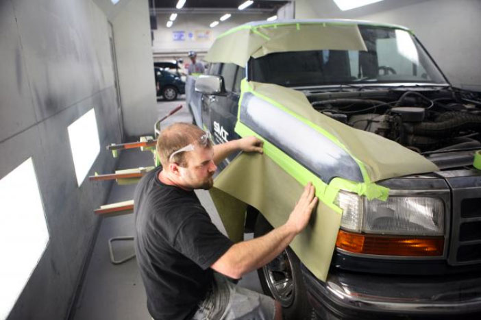 Student Ethan Merseth preps a vehicle for painting at Dakota County Technical College in Rosemount, Minn. Thursday, March 8, 2012 | Photo courtesy of MPR News/Jeffrey Thompson