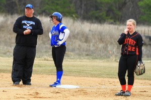 Head Coach Tom Cross (left) and Amanda Orrell (center) during 2013-2014 season.