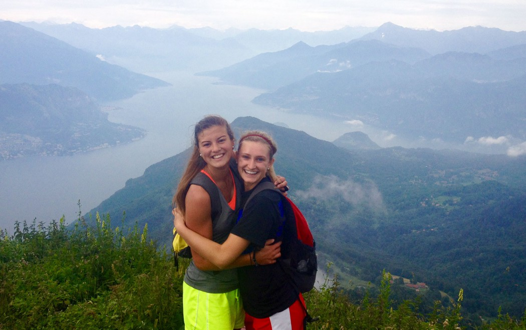 Lindsay with a friend on top of San Primo, a mountain in Bellagio, Italy
