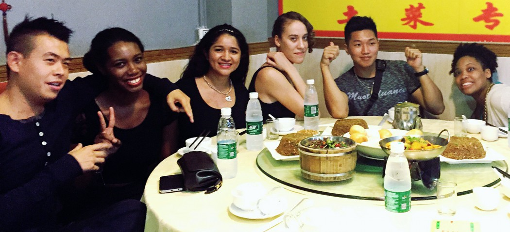 Osiris with friends during traditional dinner in mainland China
