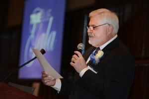 Instructor Bob Voss emcees last year's True Blue Gala.