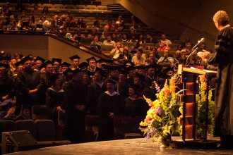 President Tim Wynes speaks at last year's commencement.