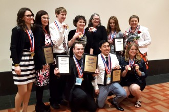 The DCTC BPA students show off their hardware at the National BPA Conference.