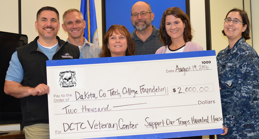 Support our Troops Haunted House donated $2,000 to the DCTC Military and Veteran Service Center to help with renovations to its new location.