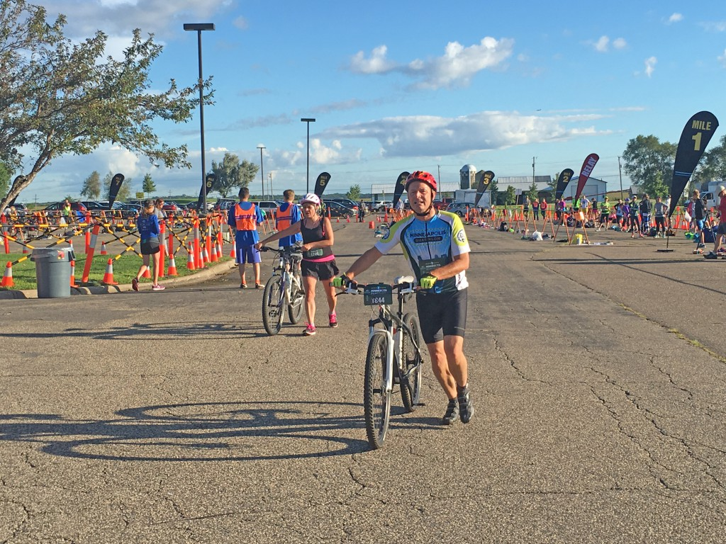 Racers start the cycling portion of the Minnesota Duathlon, which was held at DCTC Aug. 21.