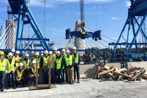 First year CET students visited the construction site of the St. Croix Crossing.