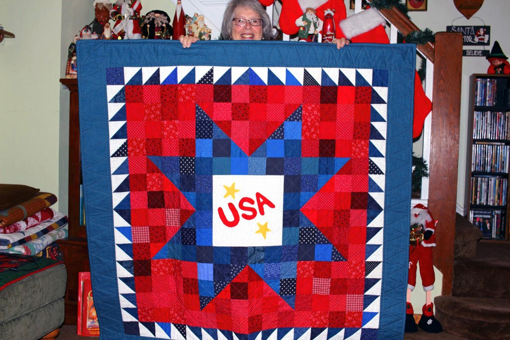 Joan Christenson created this quilt for the DCTC Military and Veteran Service Center.