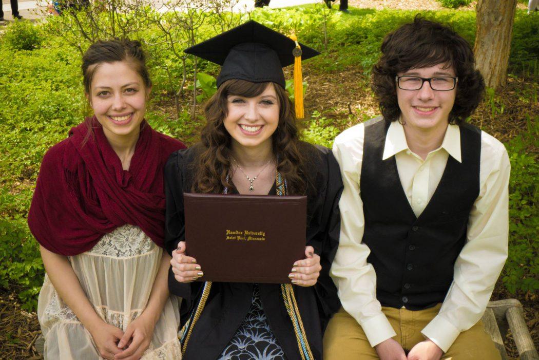 With siblings, Rebekah and Josh