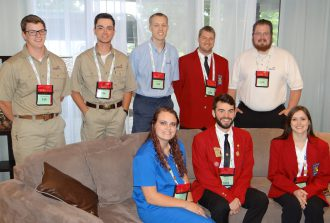 (standing left to right) Austin Dahling, Anthony Hanto, Austin Younger, Jared Horton, Christopher Fischbeck (sitting left to right) Elizabeth Sartor, Mitchell Kochenash, Branwen Jorenby