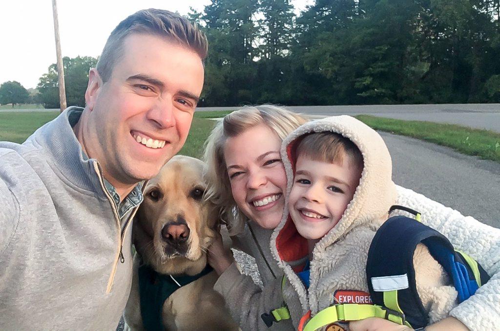 John, Sadie, Erica and Finn selfie: First day of kindergarten 2017