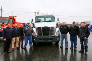 (left: I State Truck Center) Mark Olson, general manager, Jordan Tenney, used truck manager, Lee Keener, service and body shop operations manager, Jason Prodzinski, service foreman, (right: HDTT faculty) Brent Newville, Pete Szybatka, Ken Klassen