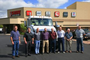 (left to right) Ken Klassen, HDTT faculty, Mark Olson, I State general manager, Lee Keener, I State service and body shop operations manager, Jordan Tenney, I State used truck manager, Ed White, HDTT faculty, Jason Wetzel, DCTC dean of transportation, construction & manufacturing, Carson Scheuffele, I State trainer, Brent Newville, HDTT faculty