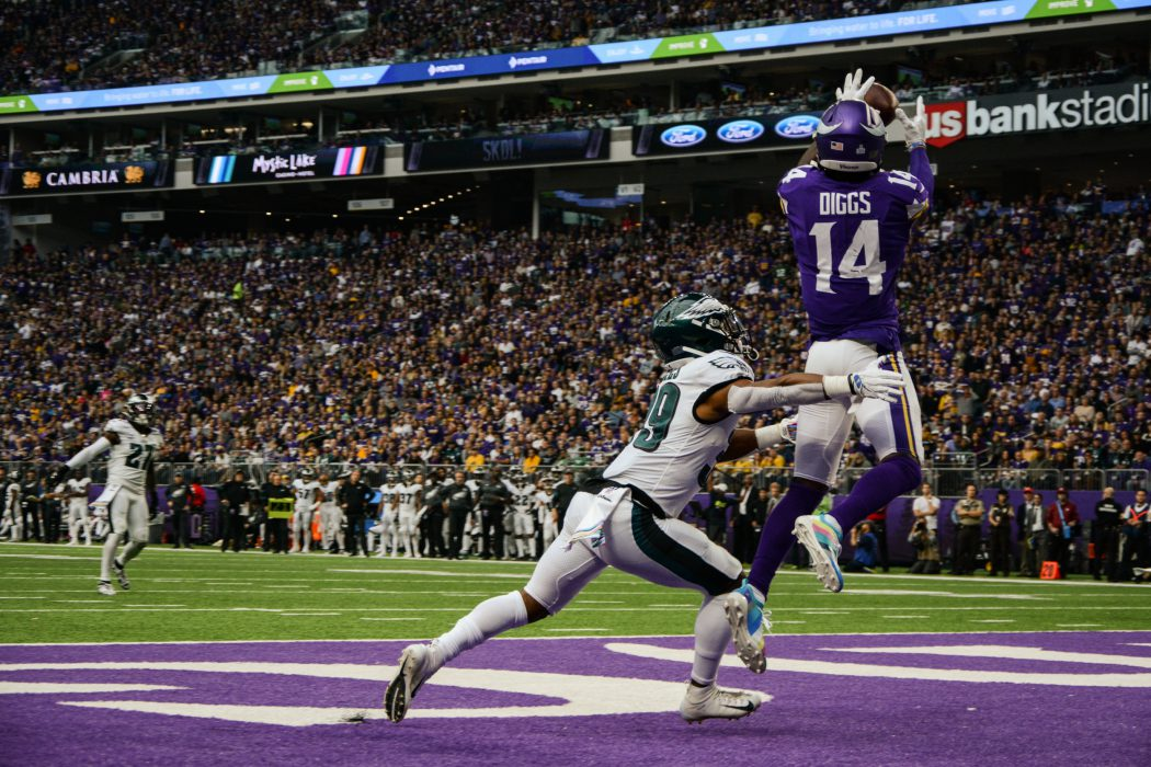 Stefon Diggs jumping to catch TD pass