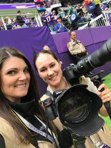 Lisa and Sarah at Vikings game