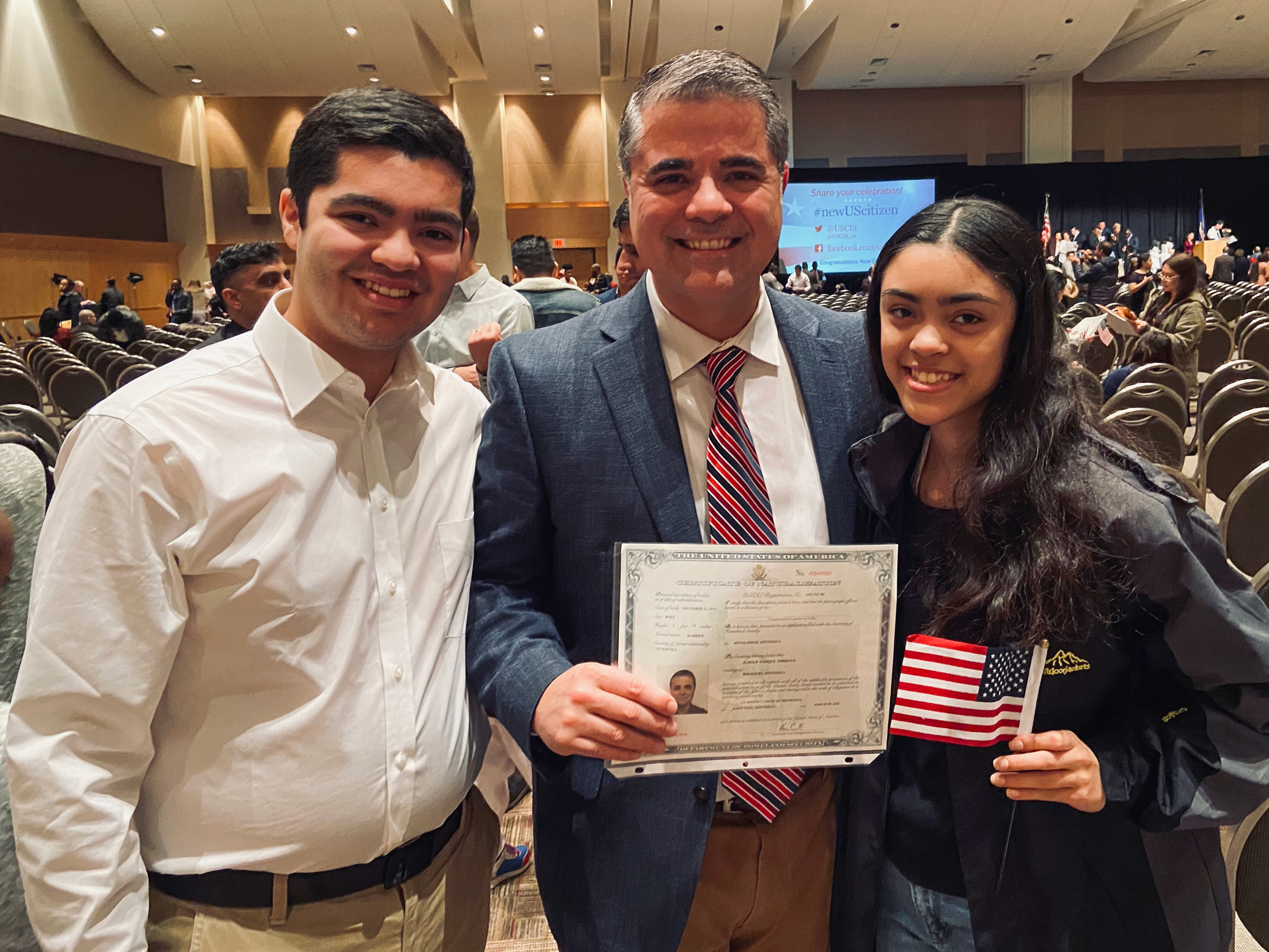 U.S. citizen! Harold with son, Jonathan, and daughter, Susana
