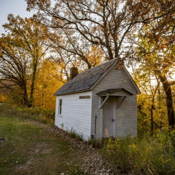 Hired Hand Shack among Aspens in Fall